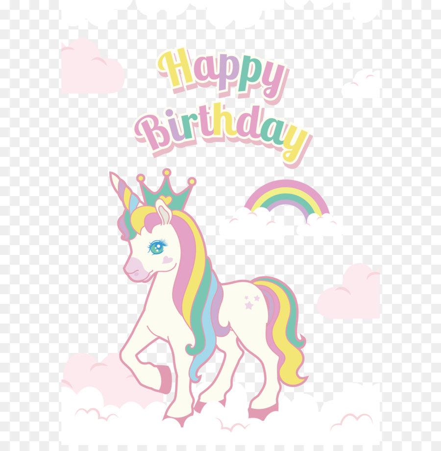 öklid Vektör El Boyaması Renkli Tek Boynuzlu At Doğum Günü