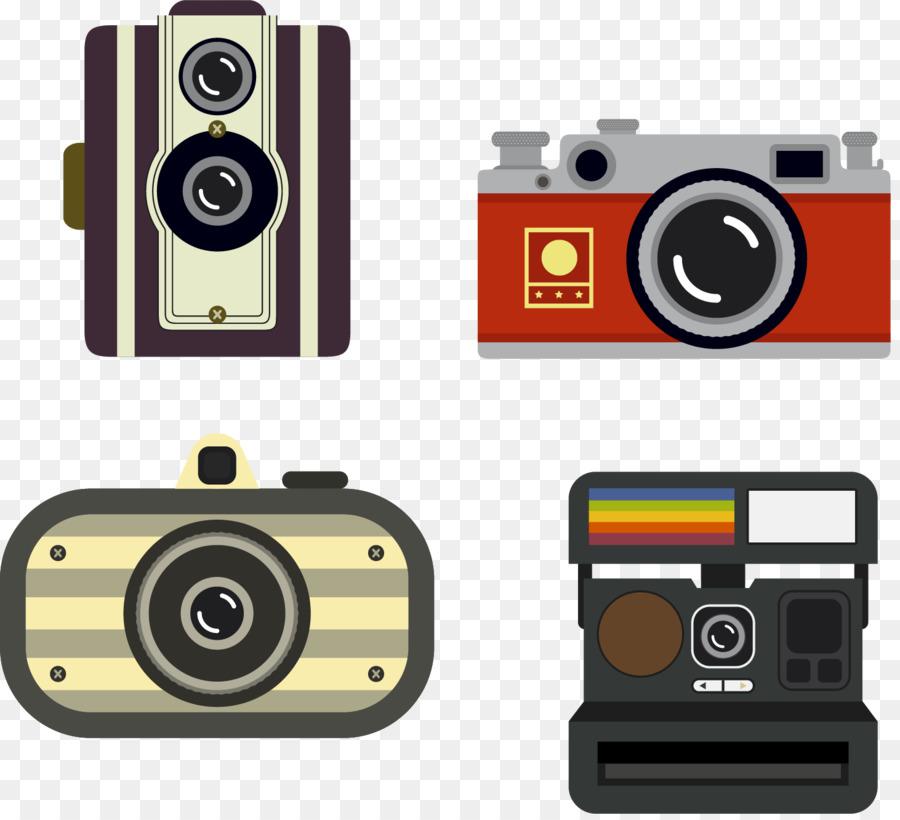 Anlik Fotograf Vektor El Boyamasi Vintage Fotograf Makinesi