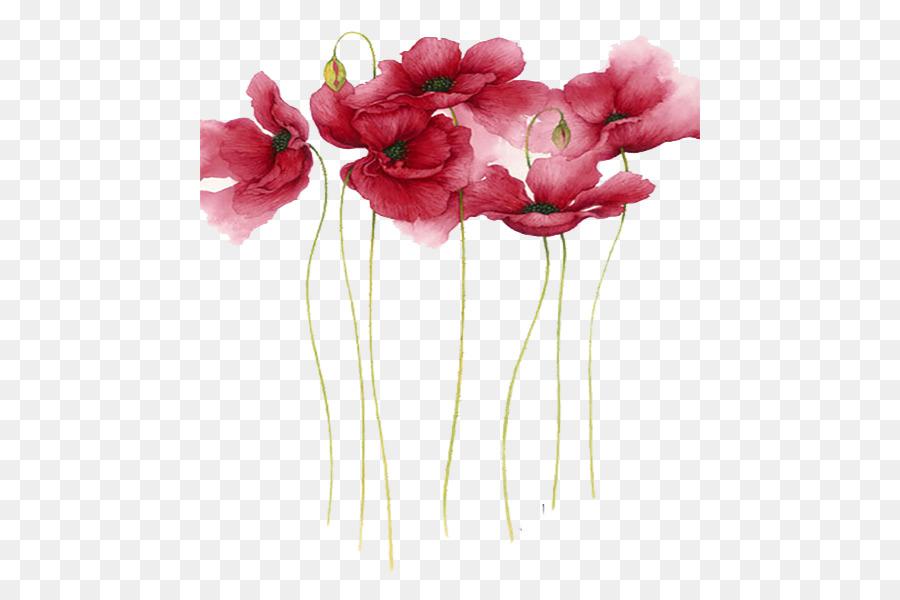 Boyama çiçek Sanatçı Suluboya Suluboya Basit Kırmızı